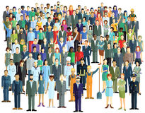 Large crowd of people. Large diverse crowd of people standing on white royalty free illustration