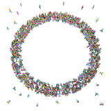 Large crowd of people moving toward the center forming a circle.  vector illustration