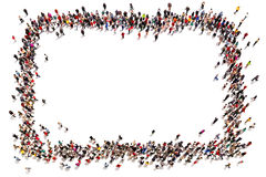 Large crowd of people moving toward the center forming a square. With room for text or copy space advertisement on a white background royalty free illustration