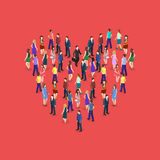 Large crowd of people standing in the shape of heart Royalty Free Stock Images