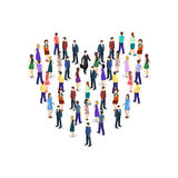Large crowd of people standing in the shape of heart Royalty Free Stock Photography
