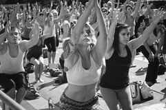 Yoga Class Time Square Royalty Free Stock Photography
