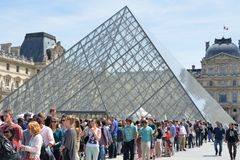 Large Crowd queuing  outside Louvre Museum. PARIS FRANCE 7 JUNE 2015: Large Crowd queuing  outside Louvre Museum Stock Photos
