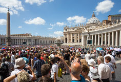 Large Crowd in Saint Peters Square at the Vatican Stock Image