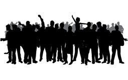 Large crowd silhouette. A large crowd black silhouette Stock Images