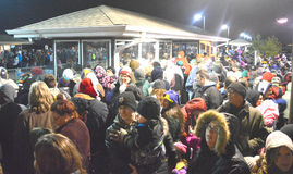 Large Crowd Waiting for Holiday Train Stock Images