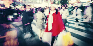Large Crowd Walking in a City Cross Street Concept royalty free stock photography
