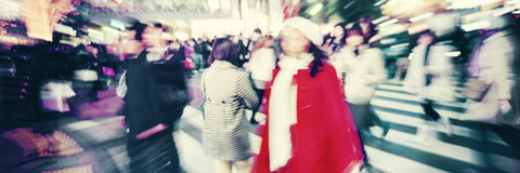 Large Crowd Walking in a City Cross Street Concept royalty free stock images