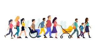 A Large Crowd Of Walking People vector illustration