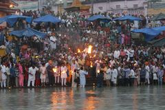 Worshipers at the ganges river in haridwar stock photography