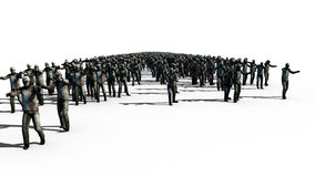 A large crowd of zombies. Apocalypse, halloween concept. isolate on white. 3d rendering. Royalty Free Stock Photos