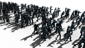 A large crowd of zombies. Apocalypse, halloween concept. isolate on white. 3d rendering. Stock Photos