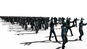 A large crowd of zombies. Apocalypse, halloween concept. isolate on white. 3d rendering. Stock Image