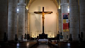 Large Crucifix in the Cathedral of Mérida, Yucatán stock image