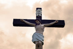 Large crucifix in an irish graveyard Stock Photo