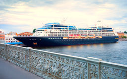 A large cruise liner at the pier in St. Petersburg Royalty Free Stock Photo