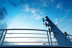 Large cruise mast. Sattelite communication antenna and radar mast of ship royalty free stock photography
