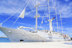 A large cruise sailing ship in the port on the embankment of the city of Zadar. Stock Photos