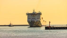 Large cruise ship approaching the harbor Stock Photo
