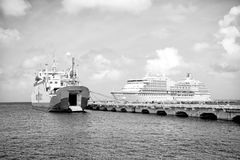 Large cruise ship in bay on island sea, Saint Lucia. Cozumel, Mexico - December 24, 2015: large cruise ship or liner in bay or harbor, touristic passenger boat Stock Photography