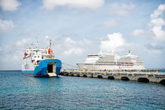 Large cruise ship in bay on island sea, Saint Lucia Royalty Free Stock Photos