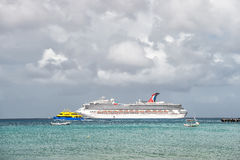 Large cruise ship in bay on water, Cozumel, Mexico Royalty Free Stock Photos