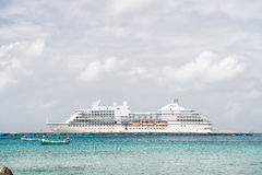 Large cruise ship in bay on water, Cozumel, Mexico Stock Photography