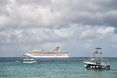 Large cruise ship in bay on water, Cozumel, Mexico Royalty Free Stock Photo