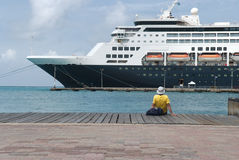 Large cruise ship docked at the port of Aruba Stock Images