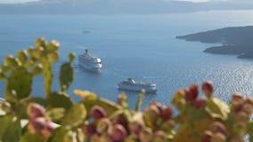 Large cruise ship entering port of popular resort city, beautiful seascape stock video footage