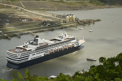 Large cruise ship exiting Pedro Miguel Locks on Panama Canal stock images