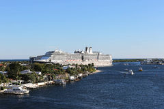 Large Cruise Ship leaves Port Everglades in Fort Lauderdale, Florida Royalty Free Stock Images