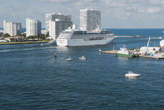 Large cruise ship leaving home port Fort Lauderdale royalty free stock image