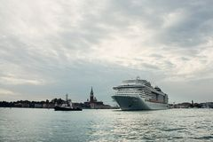 Large cruise ship leaving Venice Royalty Free Stock Images