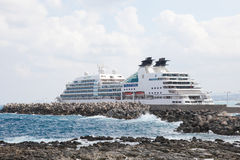 Large Cruise Ship at the Port of Rethymno on the island of Crete Royalty Free Stock Photos