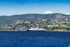 Large cruise ship sailing on west coast of Newfoundland Royalty Free Stock Photography