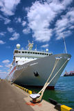 Large cruise ship in sea port Royalty Free Stock Photos