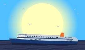 Large cruise ship at sea at sunset or at sunrise and seagulls flying in the sky above the ship. Vector illustration in flat style. Royalty Free Stock Image