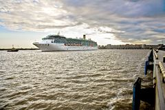 Large cruise ship  in St. Petersburg Stock Photos