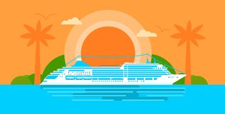 Large cruise ship at sunset in ocean vector illustration