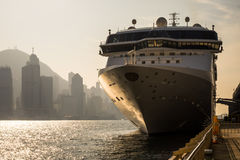Large cruise ship in Victoria Harbour, Hong Kong Stock Image
