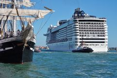 Large cruise ships pass through the center of Venice Stock Image