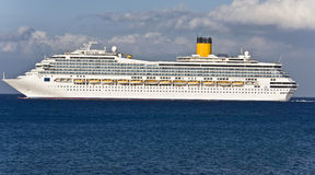 Large cruiser sailing outside Rhodes. Island in Greece at summer time Royalty Free Stock Images