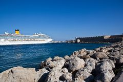 Large cruiser sailing outside Rhodes in Greece Stock Photo