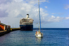 A large cruiseship calling at kingstown, st. vincent Stock Images