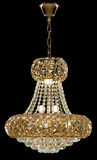 Large crystal chandelier in baroque style isolated on black background. Stock Photo