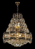 Large crystal chandelier isolated on black background. Stock Photography
