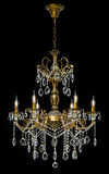 Large crystal chandelier isolated on black background. Stock Photos