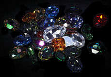 Large crystal strasses. On black background Royalty Free Stock Photography