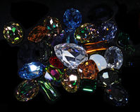 Large crystal strasses. On black background Royalty Free Stock Photo